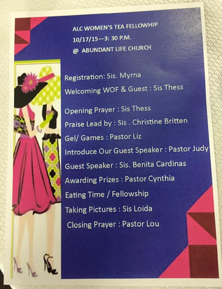 Women's Tea Fellowship (10/17/15)